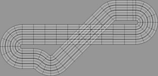Eight lane Scalextric layout